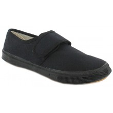 Kids Black Velcro Pumps